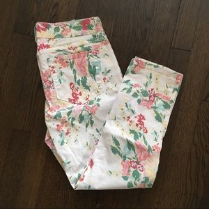 NYDJ White Floral Ankle Jeans 6 Petite